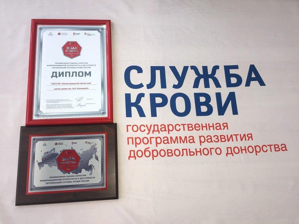 Нижегородский областной центр крови получил серебряный «Знак качества»